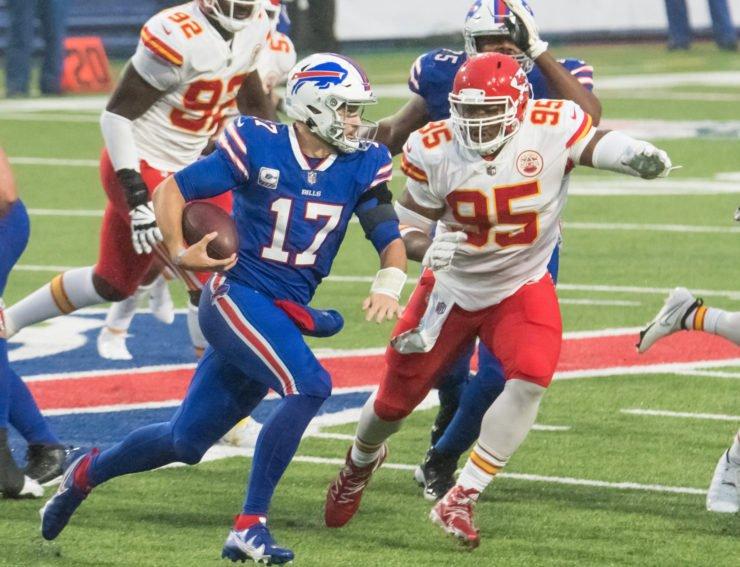 Buffalo Bills quarterback Josh Allen attempts to make a play against Kansas City Chiefs on Sunday.