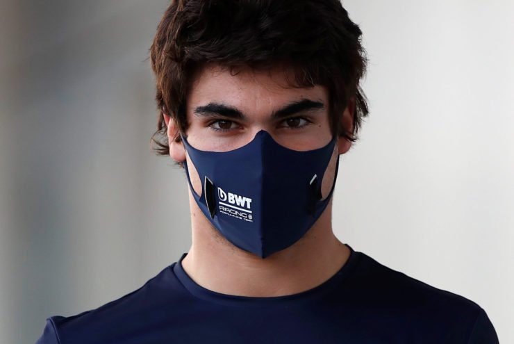 Lance Stroll in the paddock ahead of the Russian GP