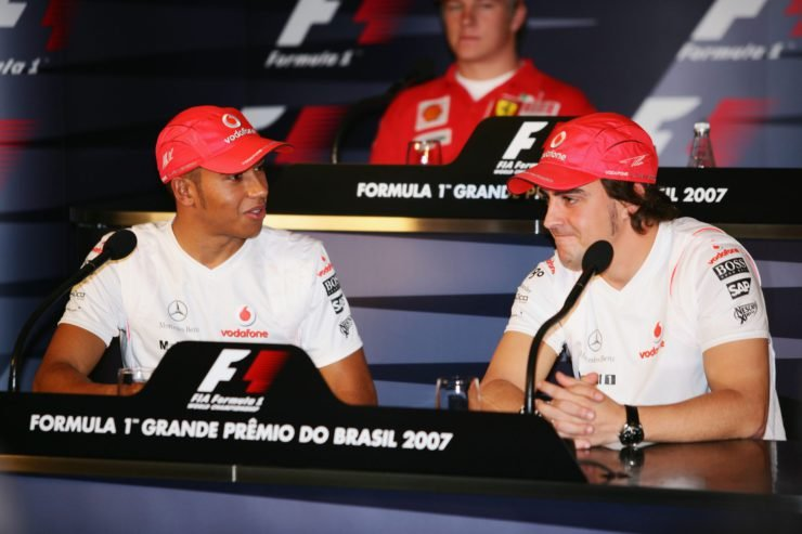 Lewis Hamilton and Fernando Alonso at the 2007 Brazil GP F1 press conference