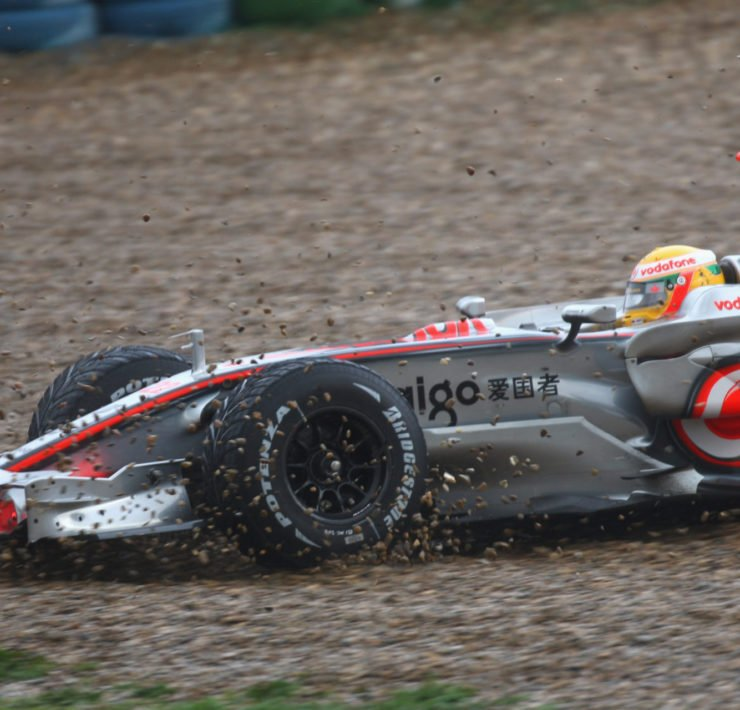 Lewis Hamilton going off on Pirelli tyres in Mclaren