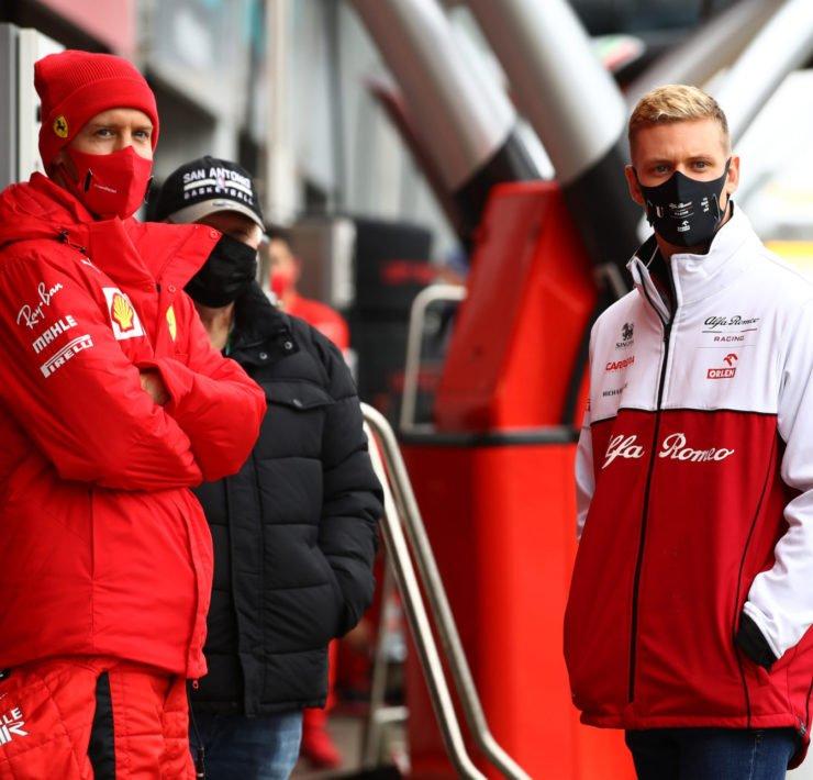 Mick Schumacher and Sebastian Vettel prior to the start of the Eifel GP practice session