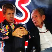 Red Bull advisor Helmut Marko with Sebastian Vettel in the paddock ahead of the Japanese GP