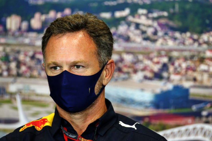 Red Bull team boss Christian Horner during the Russian GP press conference