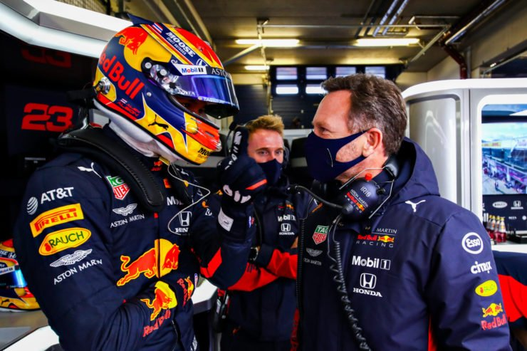 Alex Albon of Red Bull and Christian Horner prior to the Eifel GP
