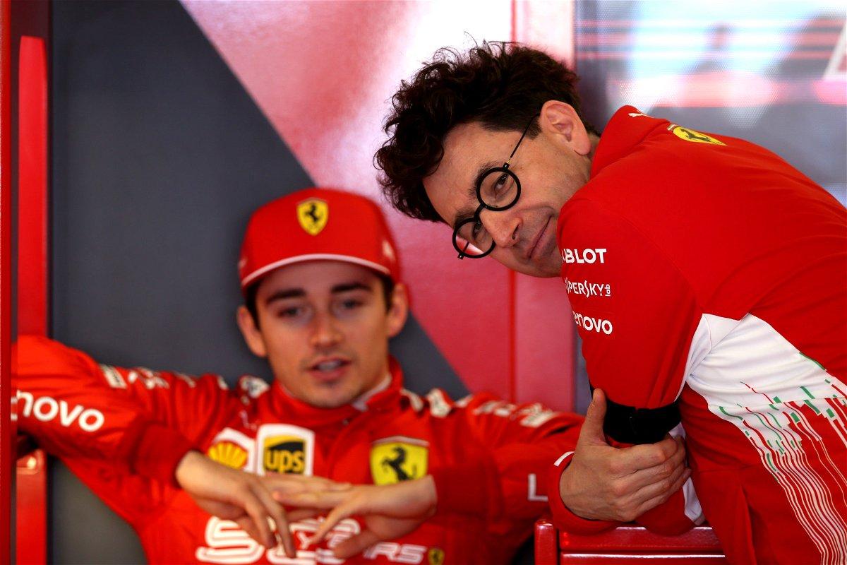 Ferrari driver Charles Leclerc and Mattia Binotto prior to the 2019 Australian Grand Prix