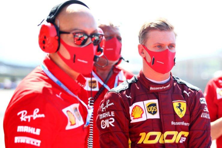 Mick Schumacher prepares to drive Ferrari F2004