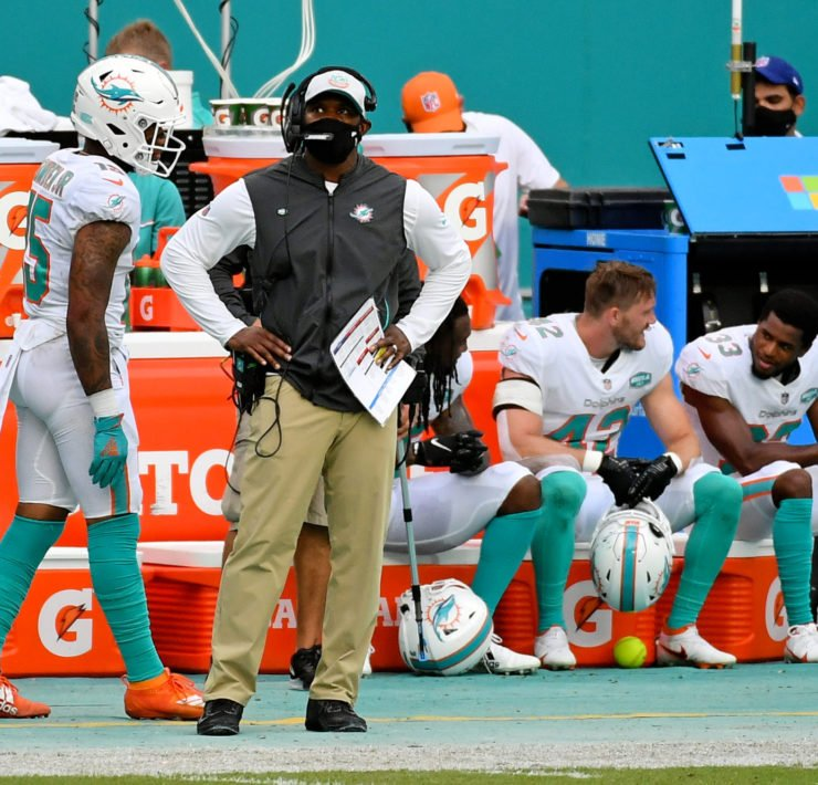 Miami Dolphins coach Brian Flores pictured on the sidelines against New York Jets on Sunday.