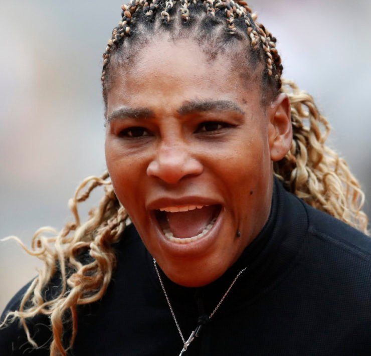 Serena Williams during her first round at the French Open 2020