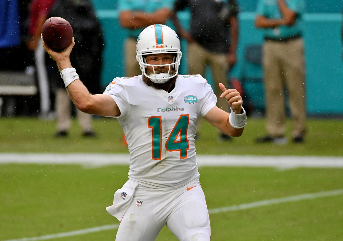 Miami Dolphins quarterback Ryan Fitzpatrick attempts a pass against New York Jets in Week Six.
