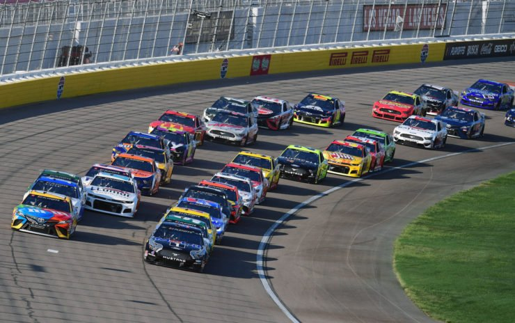Kevin Harvick and Kyle Busch in action in NASCAR Cup Series race at Kansas Speedway