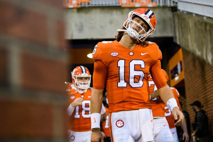 Clemson Tigers quarterback Trevor Lawrence pictured ahead of a warmup game.