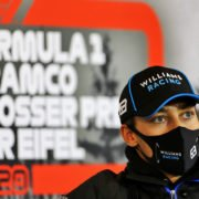 Williams' George Russell at the Eifel GP press conference