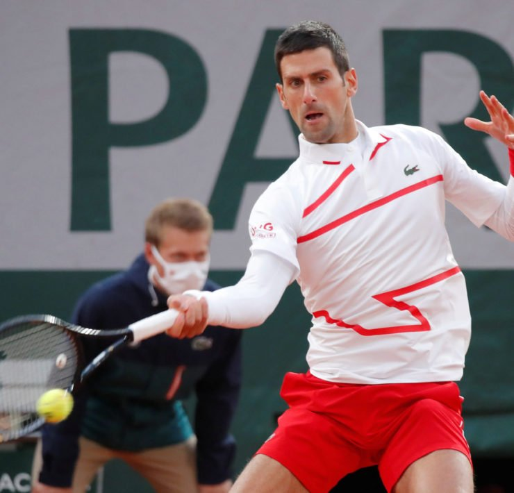 Novak Djokovic in action during the French Open 2020