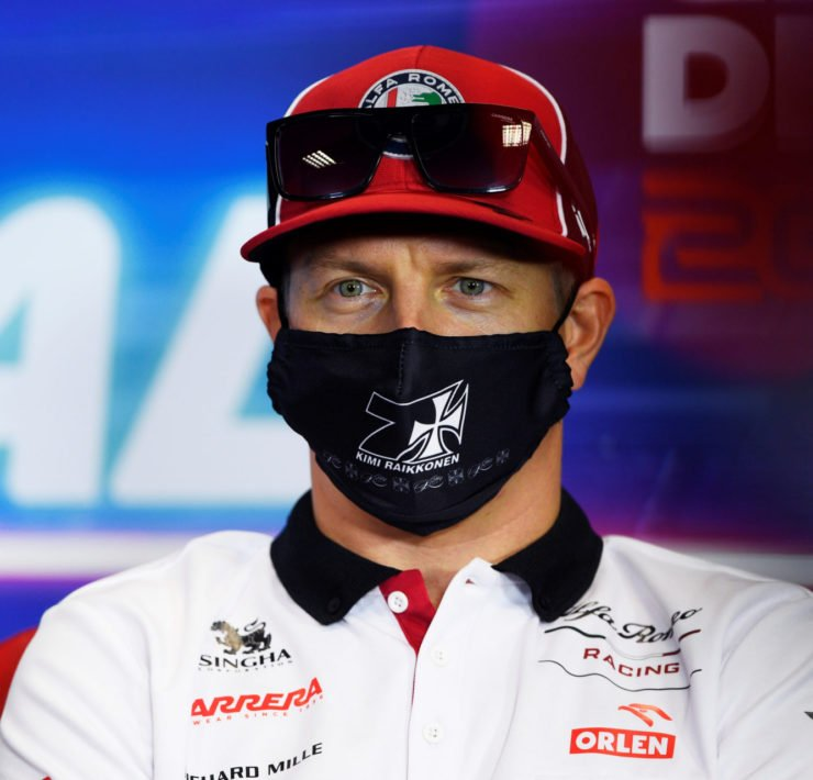 Alfa Romeo's Kimi Raikkonen during the press conference at the Portuguese Grand Prix 2020