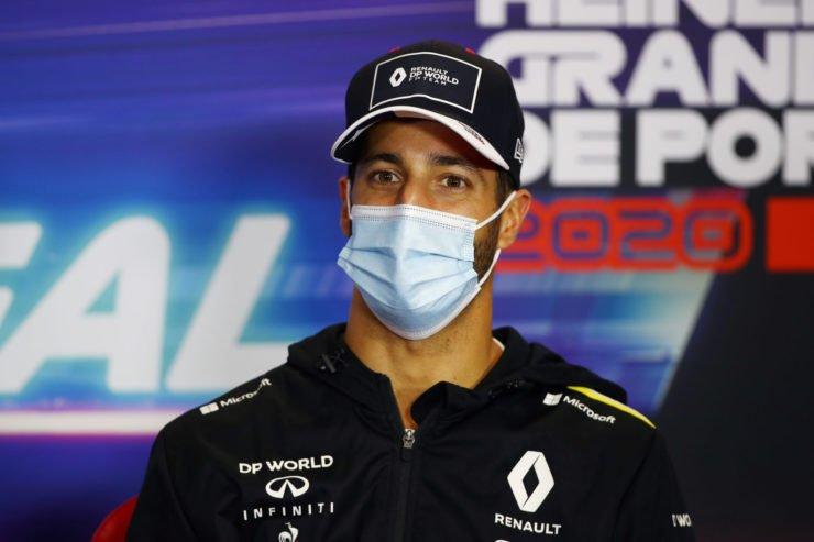 Renault's Daniel Ricciardo at the drivers' press conference in Portugal
