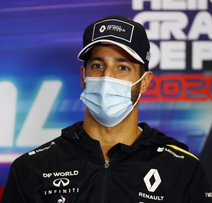 Renault's Daniel Ricciardo at the drivers' press conference in Portugal