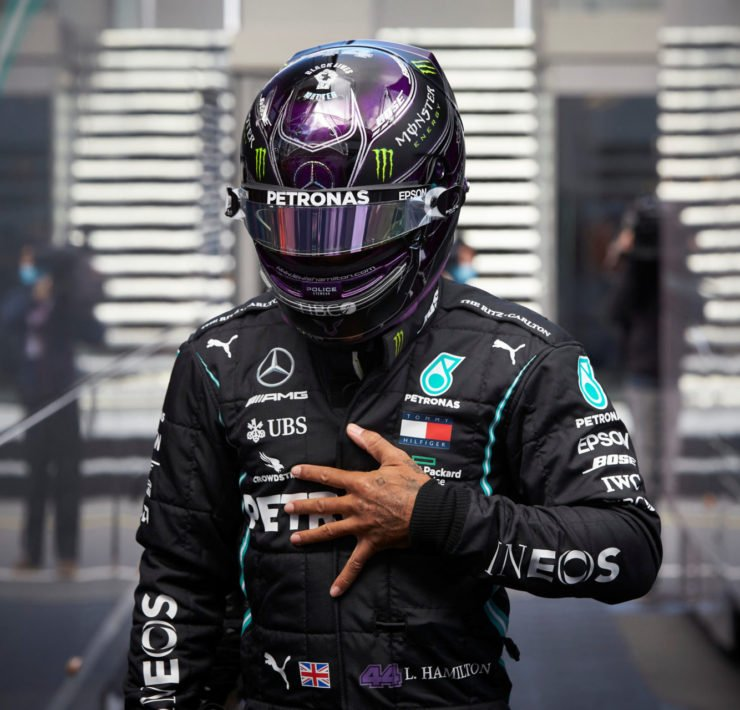 Mercedes' Lewis Hamilton in the pits
