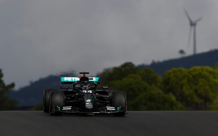 Mercedes driver Lewis Hamilton racing in the Portuguese GP free practice