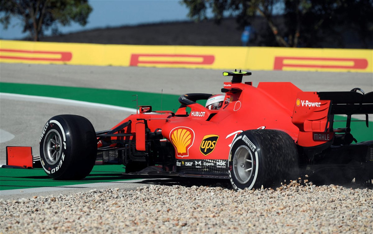 Ferrari's Charles Leclerc spins during FP1 at Portuguese Grand prix 2020