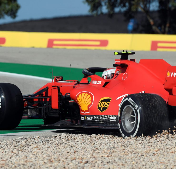 Ferrari's Charles Leclerc spins during FP1 at Portuguese Grand prix 2020