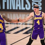Los Angeles Lakers' Alex Caruso with Danny Green