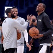 Kevin Durant and Kyrie Irving of Brooklyn Nets