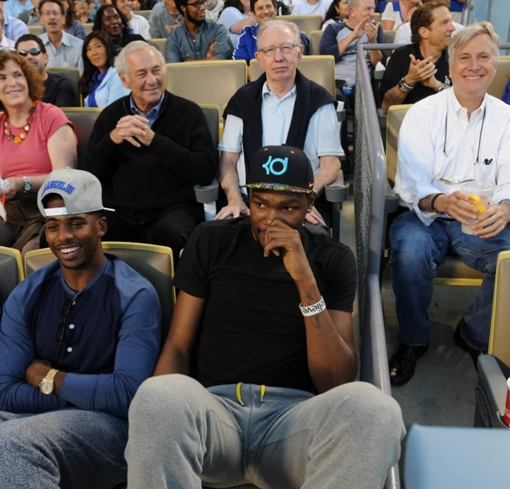 NBA players Chris Paul and Kevin Durant attend a game between the Los Angeles Dodgers and the New York Yankees on July 30, 2013 at Dodger Stadium