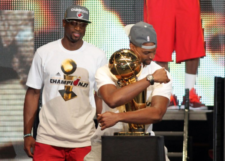 Chris Bosh hugging NBA Championship