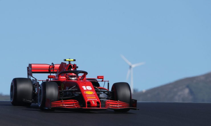 The Ferrari of Charles Leclerc in action during a practice session in Portugal