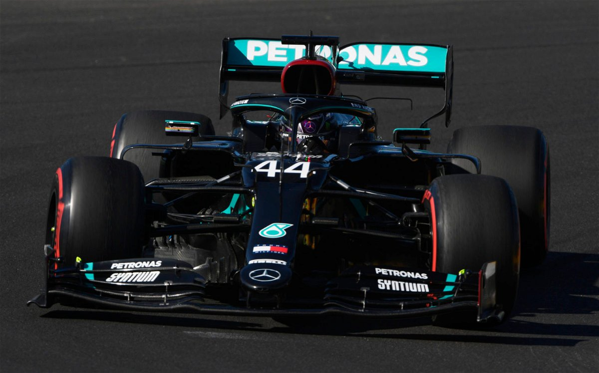 Lewis Hamilton of Mercedes in action during a practice session in Portugal