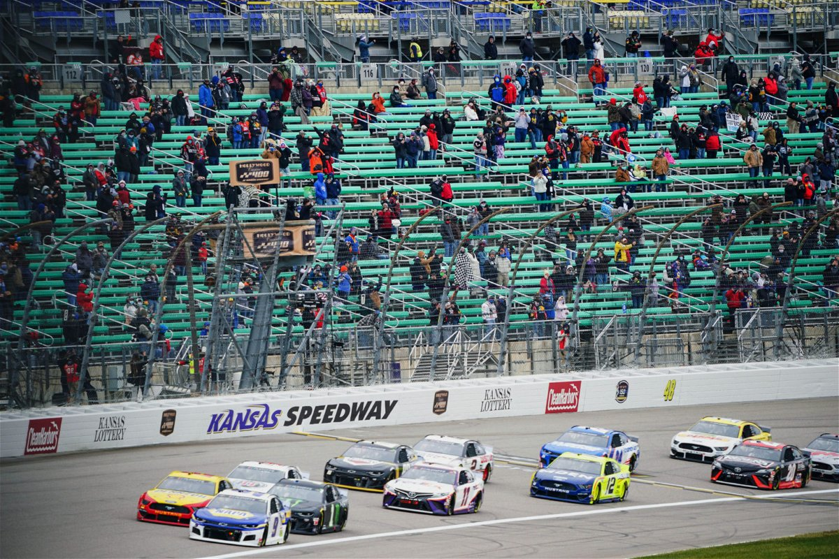 Drivers take part in the NASCAR Cup Series race at Kansas Speedway