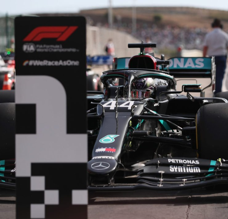 Lewis Hamilton secures pole position at the Portuguese GP