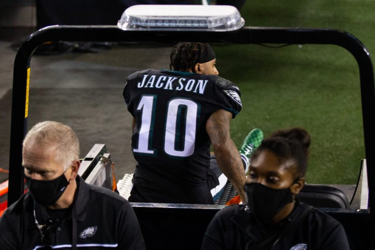 Philadelphia Eagles wide receiver DeSean Jackson carted off after suffering an ankle injury.