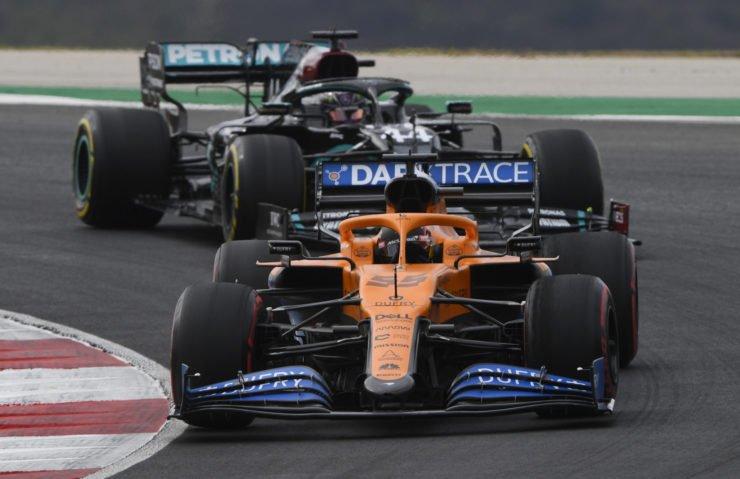 McLaren's Carlos Sainz Jr. in action during the race at Portuguese Grand Prix 2020