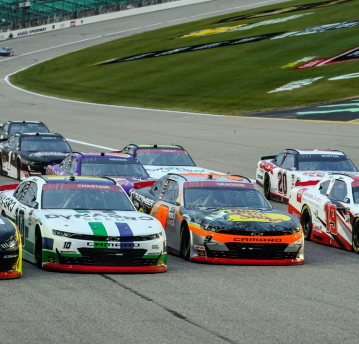 Austin Cindric, Ross Chastain, Noah Gragson, and Brandon Jones in action in NASCAR Xfinity Series