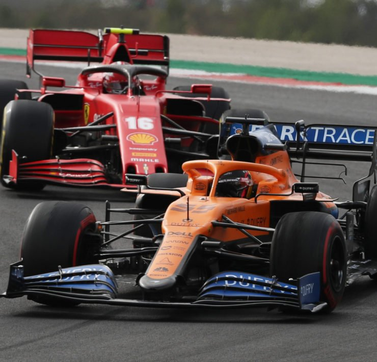 Mclaren's Carlos Sainz in action during the race at the Portuguese Grand Prix 2020