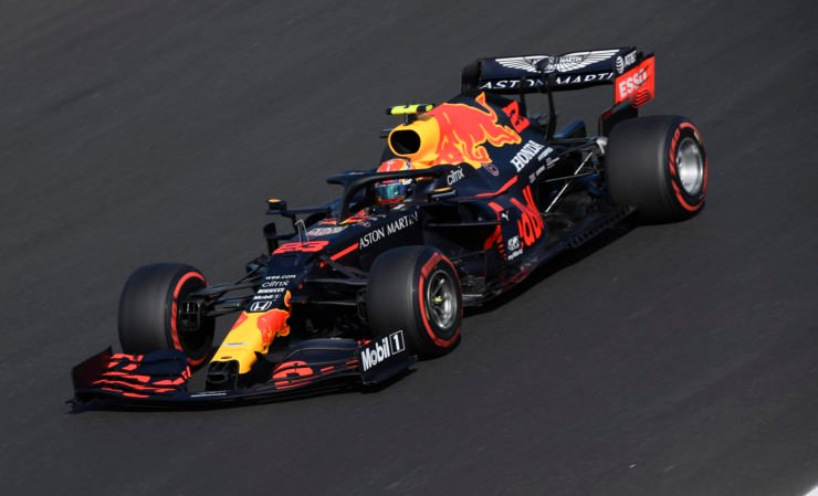 Red Bull driver Alex Albon racing in the Portuguese GP qualifying