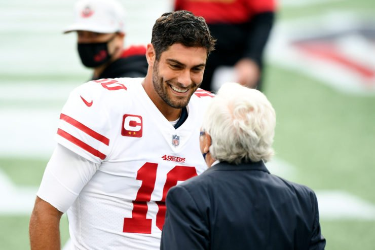 San Francisco 49es quarterback Jimmy Garoppolo pictured before playing the New England Patriots.