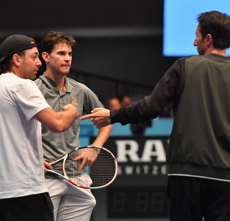 Dominic Thiem alongside his coach Nicolas Massu