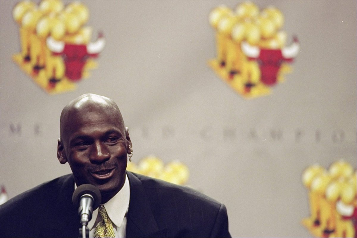 Michael Jordan during his retirement press conference