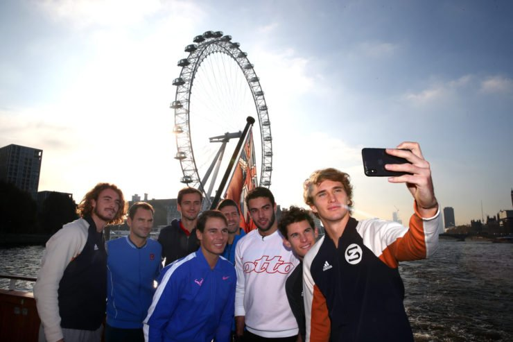 Alexander Zverev of Germany, Dominic Thiem of Austria, Matteo Berrettini of Italy, Novak Djokovic of Serbia, Daniil Medvedev of Russia. Roger Federer of Switzerland, Stefanos Tsitsipas of Greece and Rafael Nadal of Spain - ATP Finals - London 2019