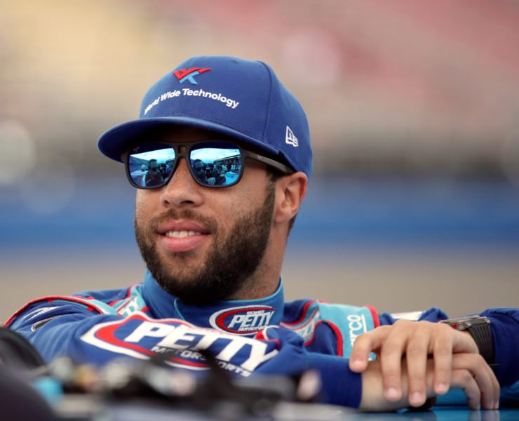 Bubba Wallace smiling ahead of the race in Fontana