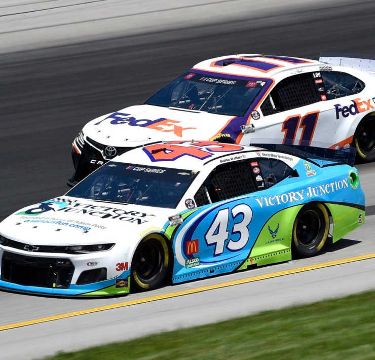 Bubba Wallace and Denny Hamlin during the NASCAR Cup Series