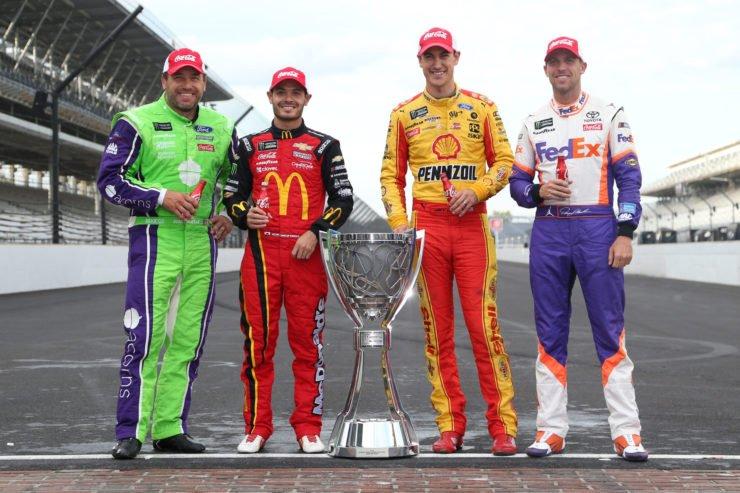 Chip Ganassi Racing driver Kyle Larson, Denny Hamlin, Joey Logano and Ryan Newman in NASCAR Cup Series