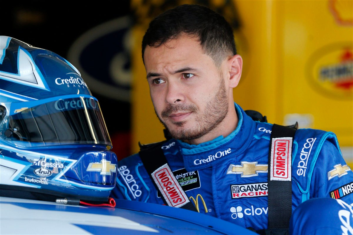 Kyle Larson at the Monster Energy NASCAR Cup Series Hollywood Casino 400 at Kansas Speedway
