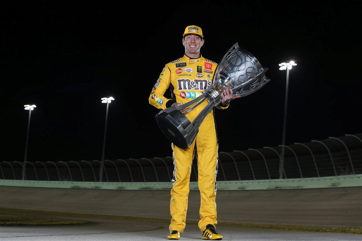 Kyle Busch with his trophy