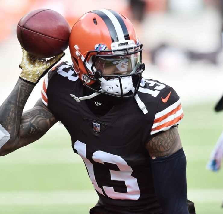 Cleveland Browns wide receiver Odell Beckham Jr. celebrates after scoring a touchdown against Indianapolis Colts.
