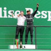Lewis Hamilton and Peter Bonnington at the Portuguese GP podium for Mercedes