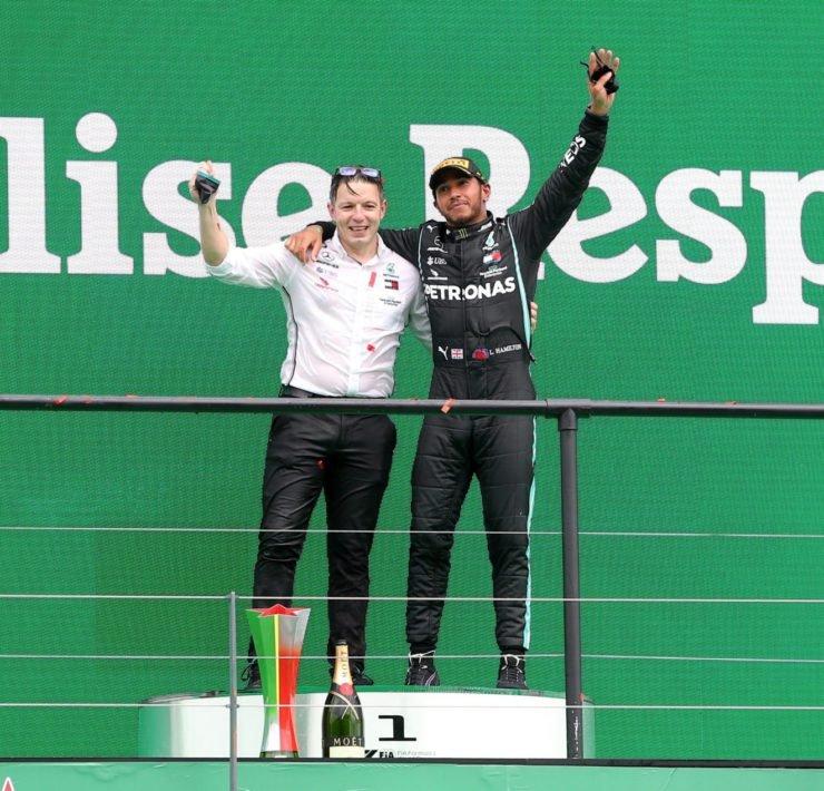 Lewis Hamilton and Peter Bonnington at the Portuguese GP podium for Mercedes