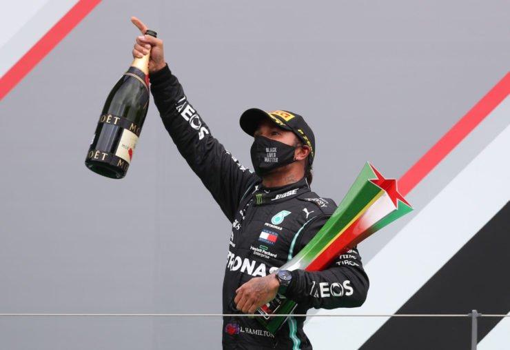 Lewis Hamilton celebrates winning the Portuguese GP